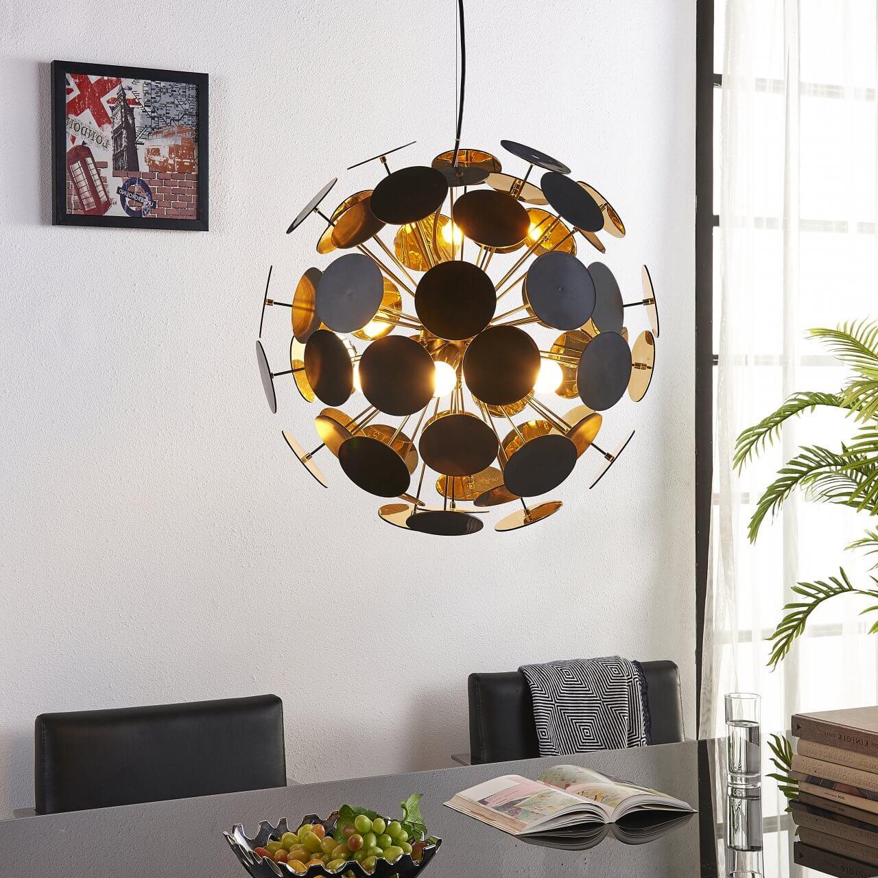 Plafondlamp met kleine stalen plaatjes
