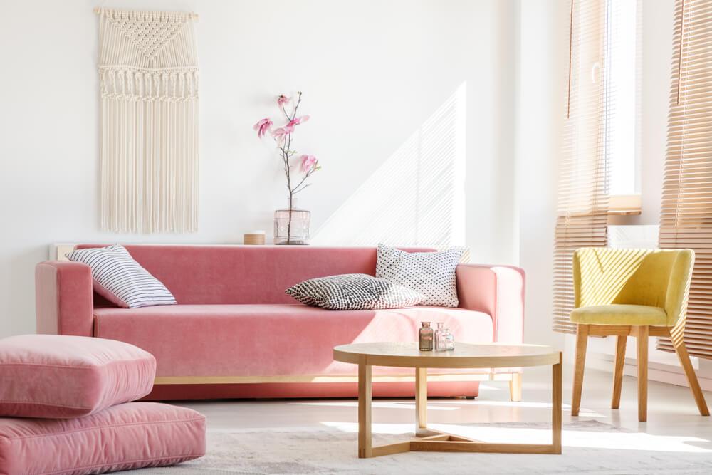 Moderne roze velvet bank