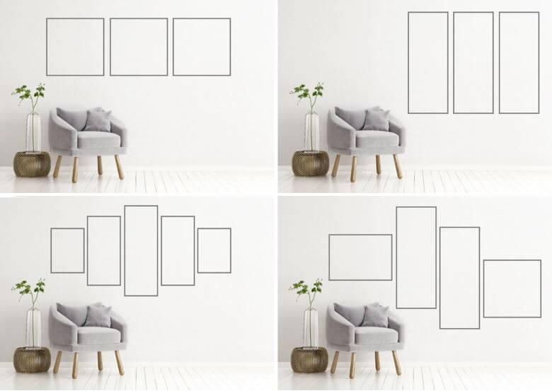 Voorbeelden afmetingen en composities meerluik foto op canvas