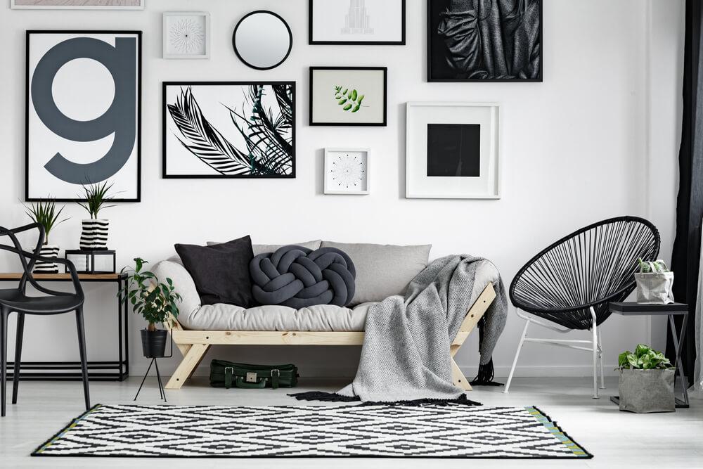 Zwart wit woonkamer
