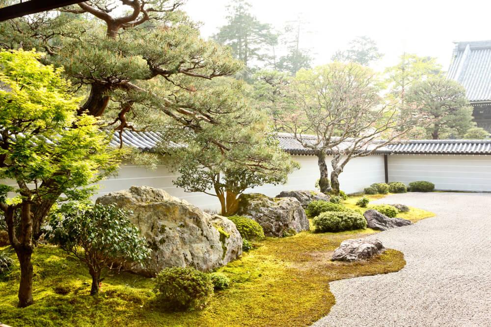 Japanse tuin met bomen