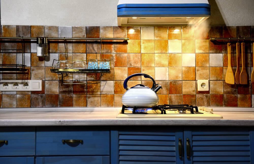 Antieke blauwe keuken