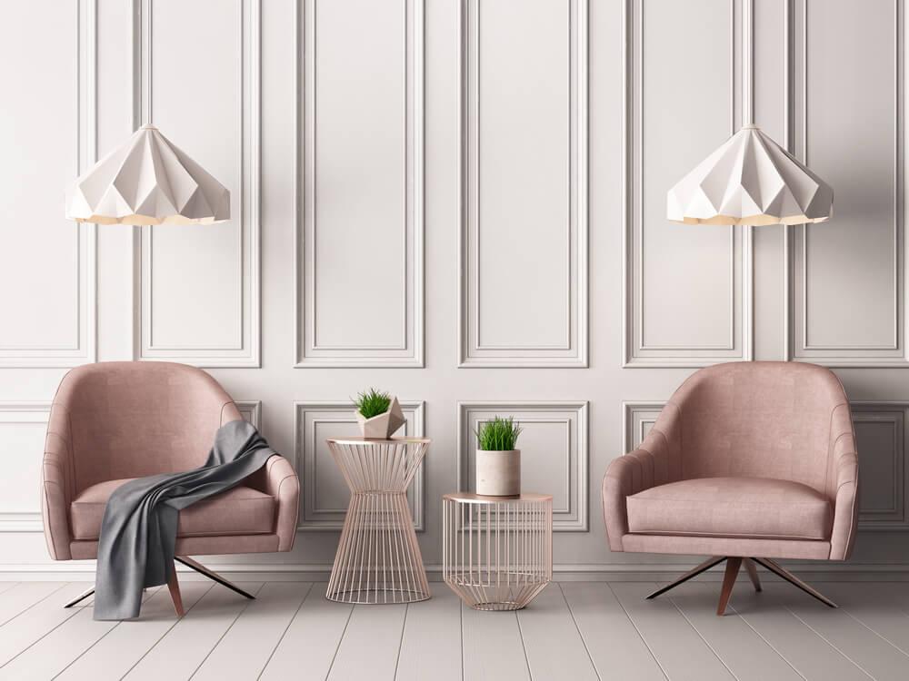 Pastel in de woonkamer met pastelroze