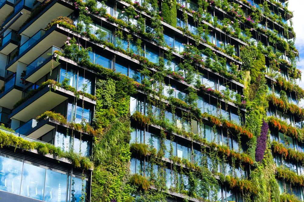 Hele flat met groene balkons