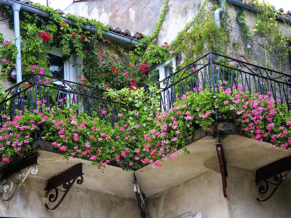 Romantisch balkon met bloeiende bloemen