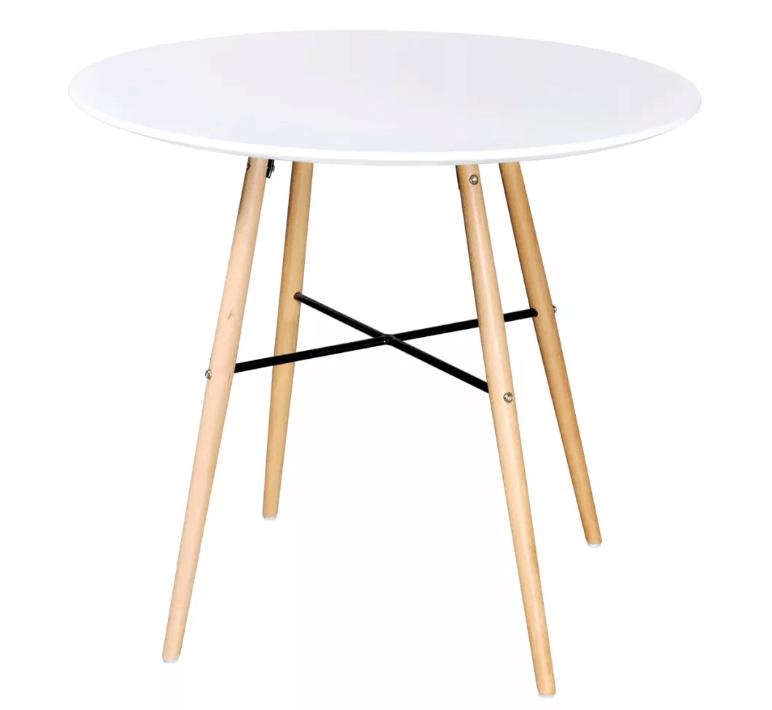 Ronde witte eettafel gecombineerd met hout vidaXL