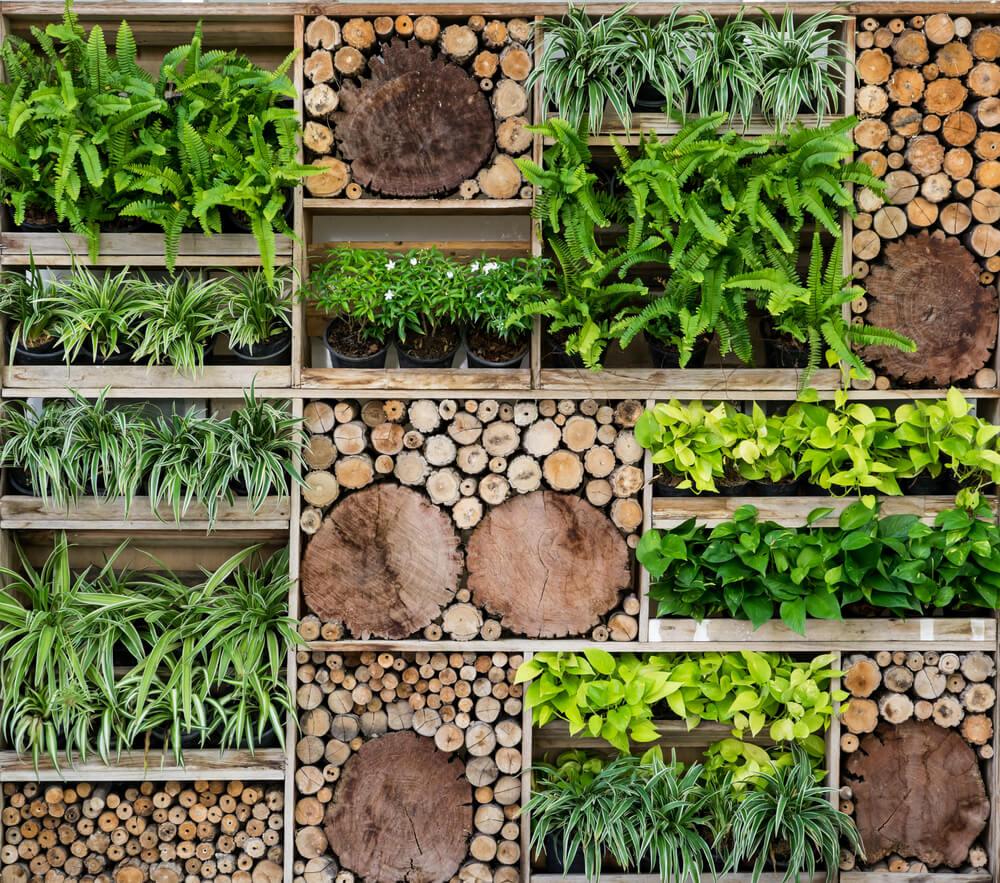 Verticale tuin met natuurlijke look