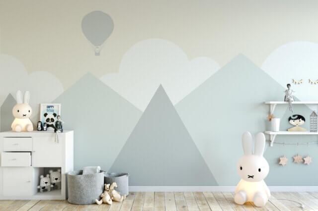 Een subtiel thema in de babykamer: in de bergen