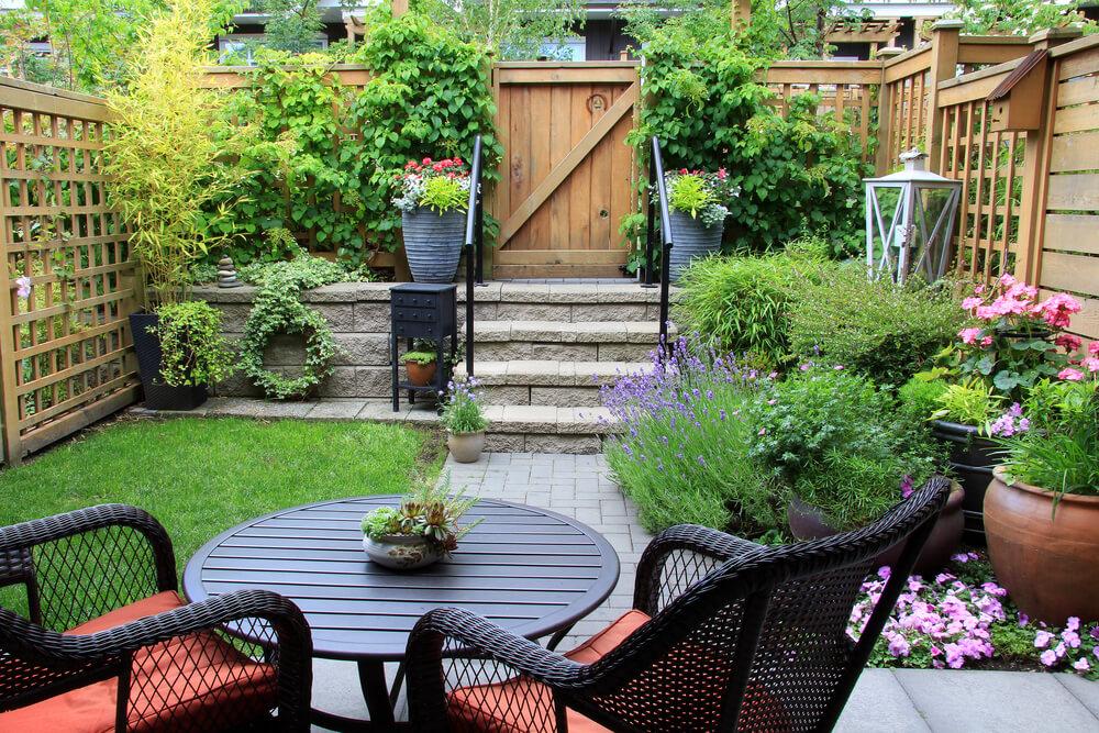Smalle groene tuin
