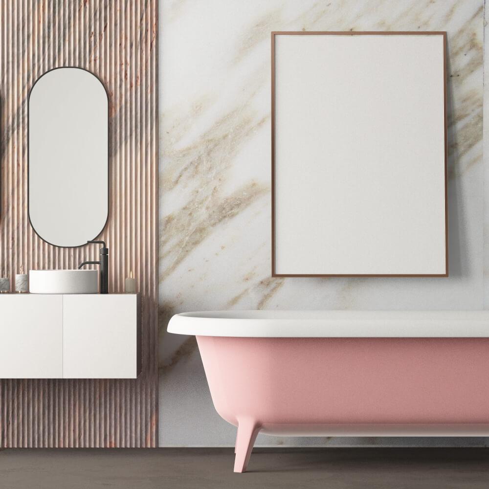 Roze badkamermeubels: stralend en uniek