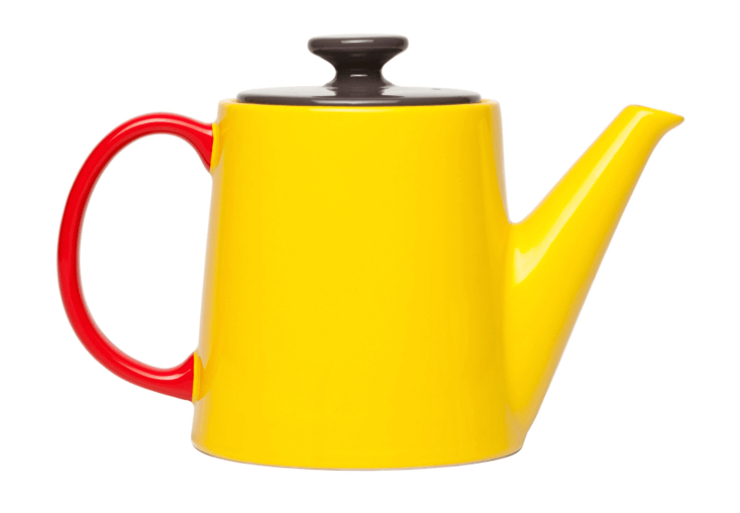 gele kleurrijke theepot