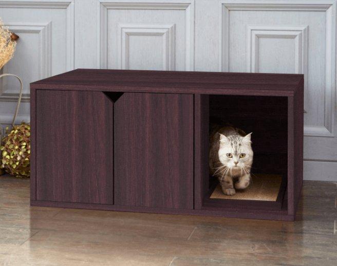 Stijlvolle houten kattenbak