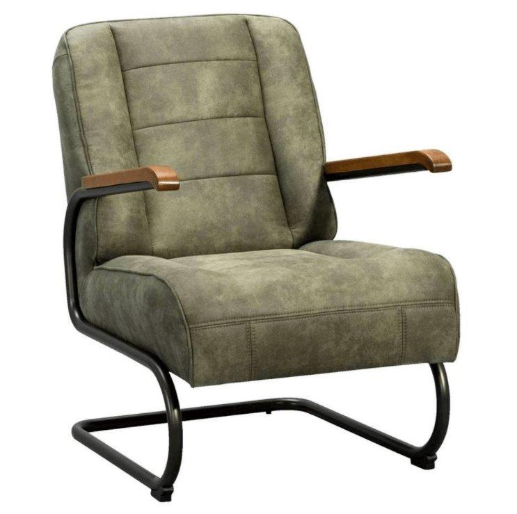 Leerlook fauteuil groen