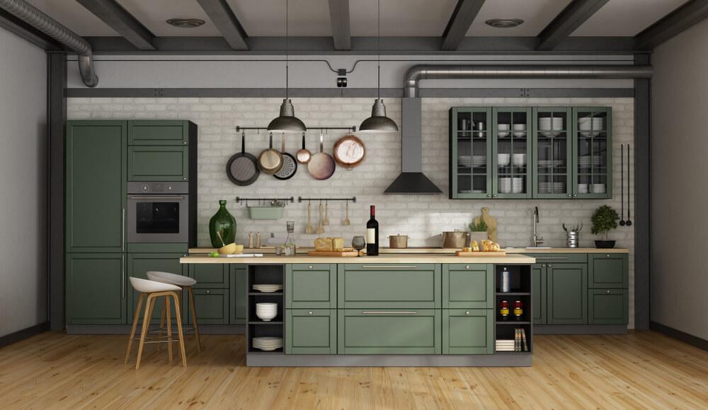 Groene keukenkastjes: fris en modern