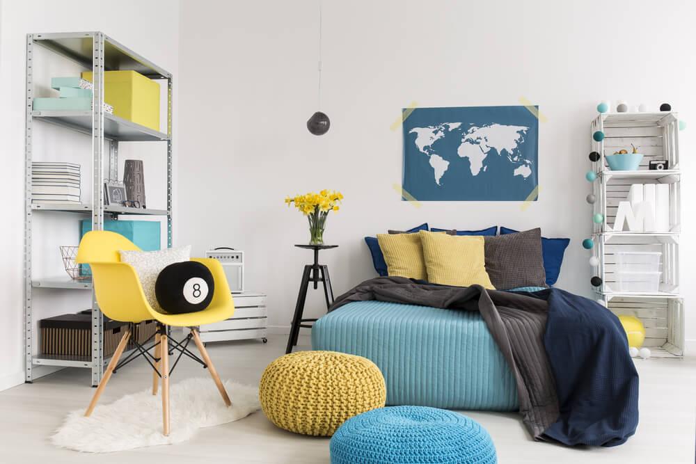 Bed decoratie: een gezellige wereldkaart