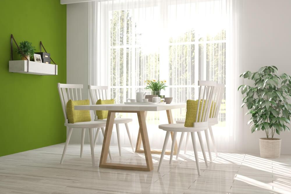 Groen in de eetkamer en keuken
