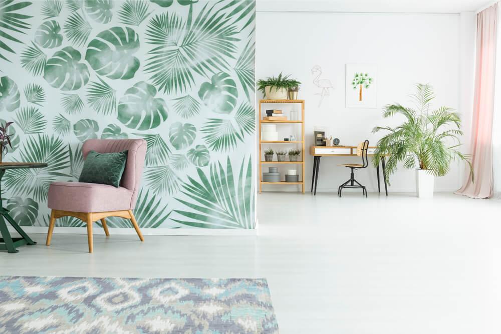 Behang in een botanisch interieur