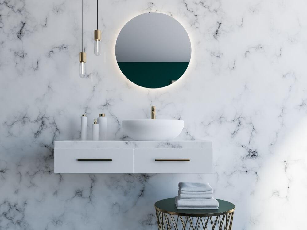 Badkamer met marmer look