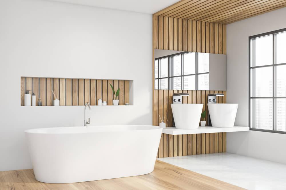 6x mooie voorbeelden van een trendy badkamer met lichtkleurig hout