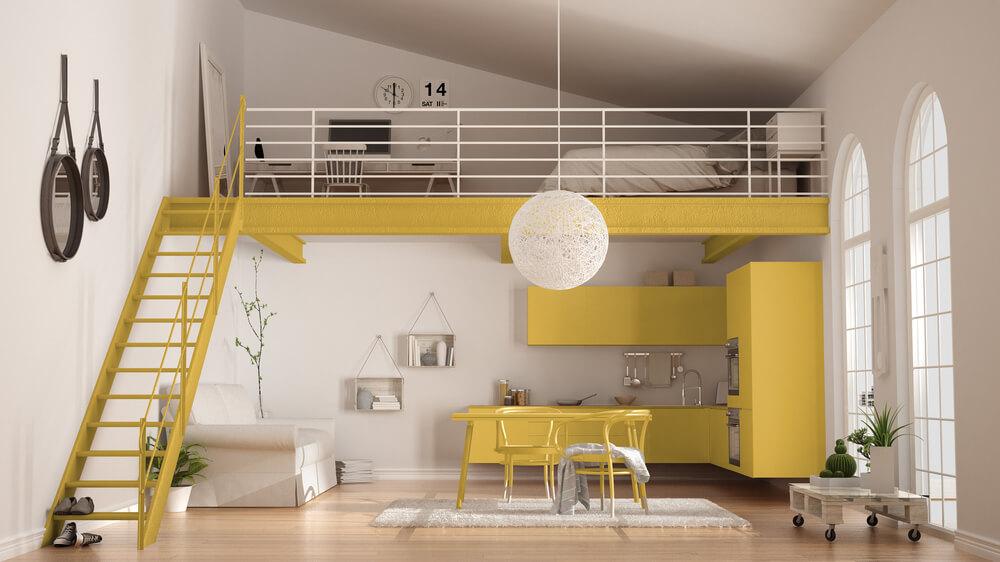 Gele woonkeuken