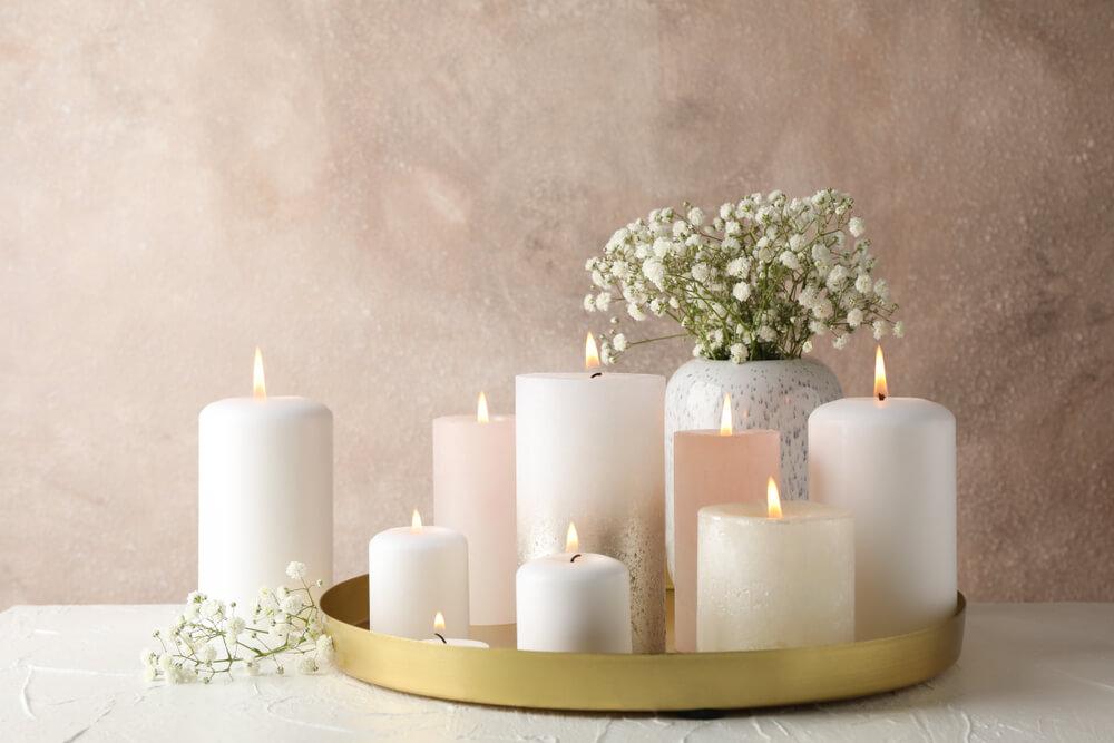 Dienblad kaarsen decoratie in goud
