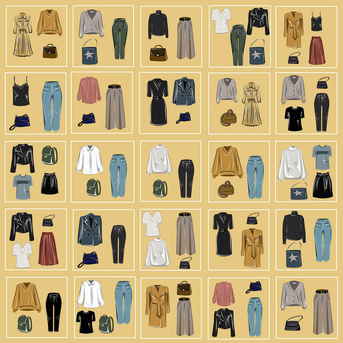 Capsule wardrobe voorbeeld
